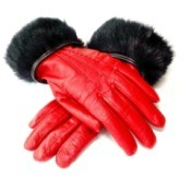 Women's Red Leather Gloves with Rabbit Fur