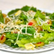 Olive Garlic Salad topped with cheese