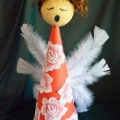 Angelica the Elegant Christmas Angel - finished angel with features and wings added