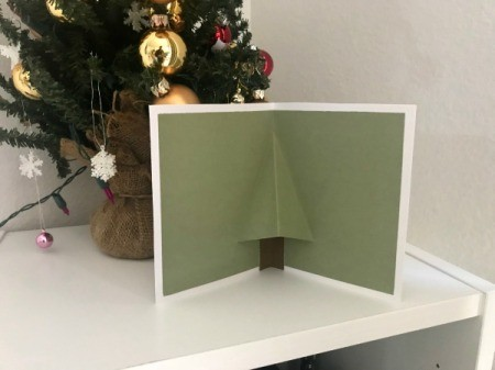 Christmas Wreath and Tree Holiday Card - card standing on a shelf
