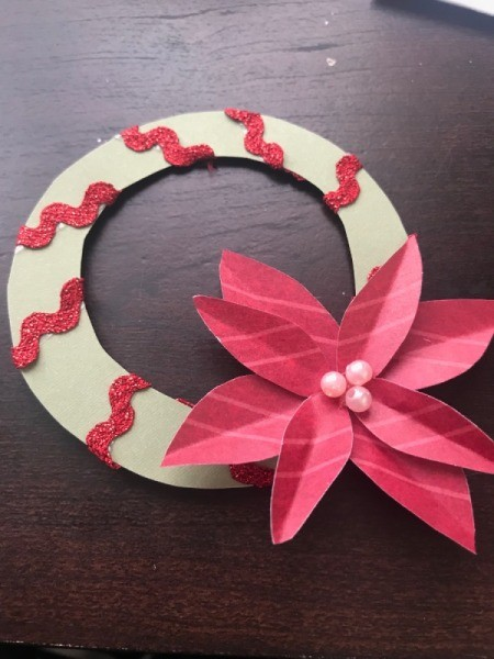 Christmas Wreath and Tree Holiday Card - glue poinsettia to wreath and add beads to center