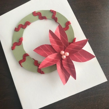 Christmas Wreath and Tree Holiday Card - glue wreath to card front