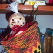 Dryer Ball Snowman Stocking Stuffer - snowman's head peeking out of stocking