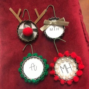 Bottle Cap Ornaments - 4 completed ornaments