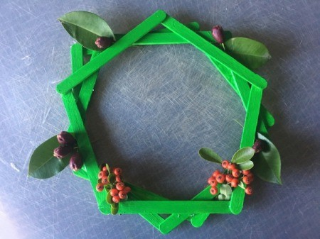 Popsicle Stick Wreath - add bits of foliage