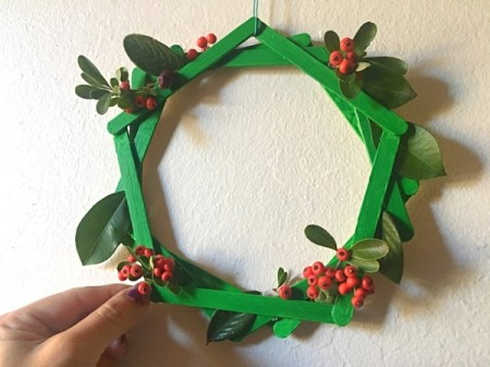 Popsicle Stick Wreath - more foliage can be added after hanging