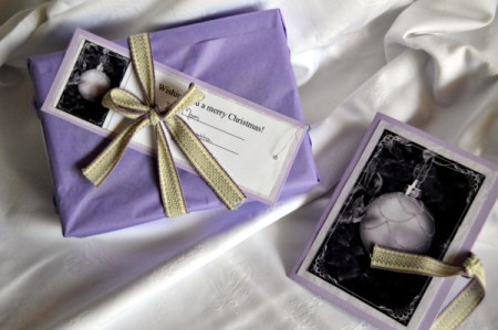 Easy Light Purple Christmas Stationery - card and wrapped gift of stationary