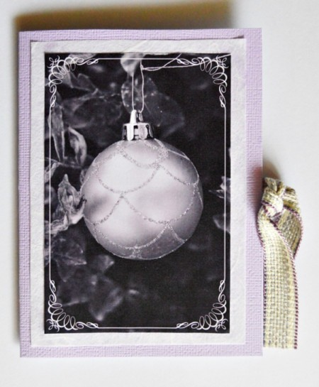 Easy Light Purple Christmas Stationery - add message and tie closed