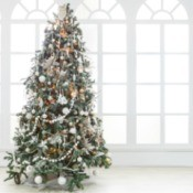Decorated Christmas Tree with large window behind.