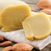 Marzipan surrounded by almonds