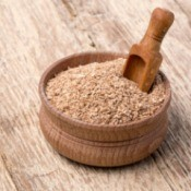 Wheat Bran in Wooden Bowl
