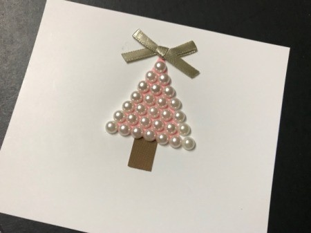 Christmas Snow Globe Card - add ribbon bow and pearl stick-ons