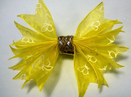 Pleated Ribbon Brooch - ribbon or braid in place as seen from front