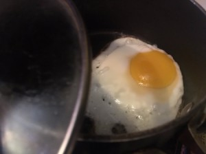 A perfectly cooked basted egg.