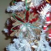 Christmas Flower Ornaments - paper flowers in tree