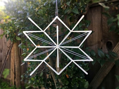 Stick and Yarn Snowflake Decoration - hang