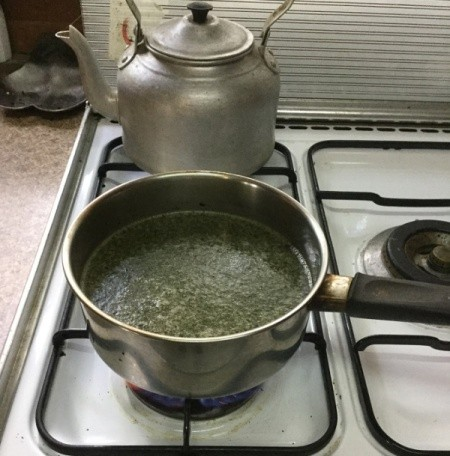 Mint Oil in pan on stove