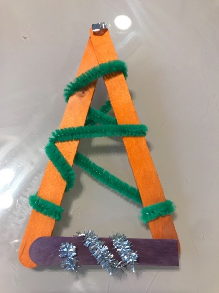 Popsicle Stick Christmas Tree Ornaments - wrapped with pipe cleaner