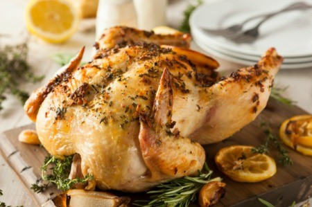 Roasted Chicken with lemon and herbs.