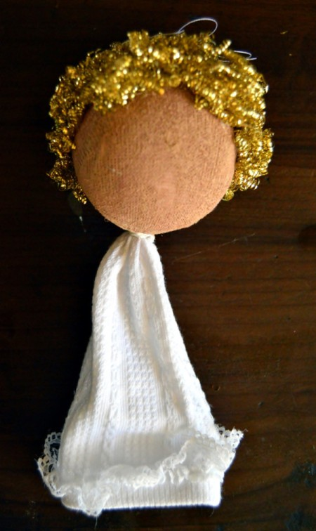 Lace Frill Sock Christmas Angel - glue cut pieces of brass scourer to head for hair