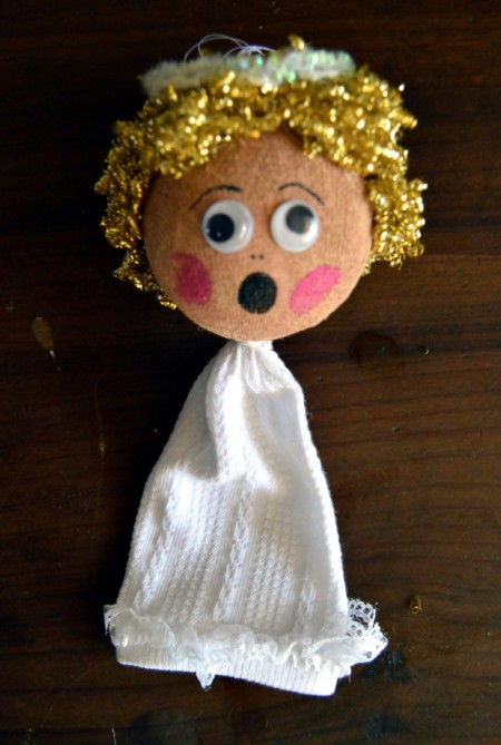 Lace Frill Sock Christmas Angel - add facial features