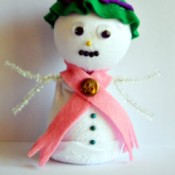 Lace Frill Sock Snowman - cute little girl's sock snowman