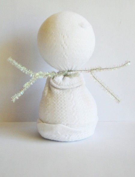 Lace Frill Sock Snowman - use pipe cleaners to make arms and hands
