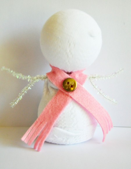 Lace Frill Sock Snowman - glue in place on snowman's neck and add button