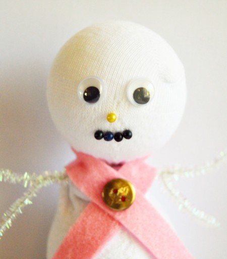 Lace Frill Sock Snowman - glue on eyes, and push pins in place to create nose and mouth
