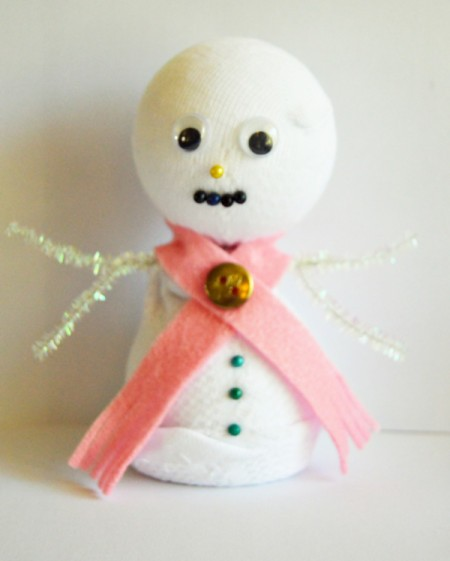 Lace Frill Sock Snowman - add the green pins to make the buttons