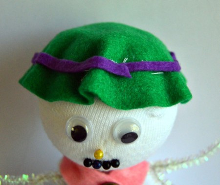 Lace Frill Sock Snowman - attach hat and add purple detail