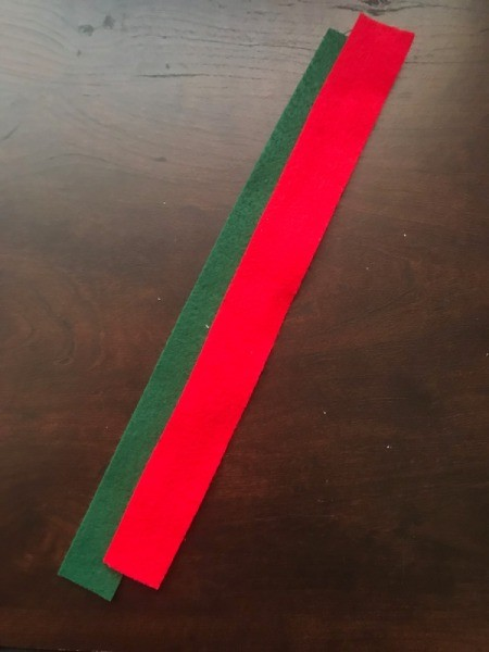 Easy Christmas Felt Garland or Bracelet - red and green strip