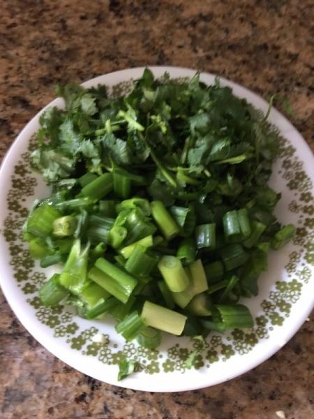 cut green onions and cilantro