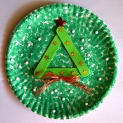 Let It Snow Paper Plate Craft - finished tree plate