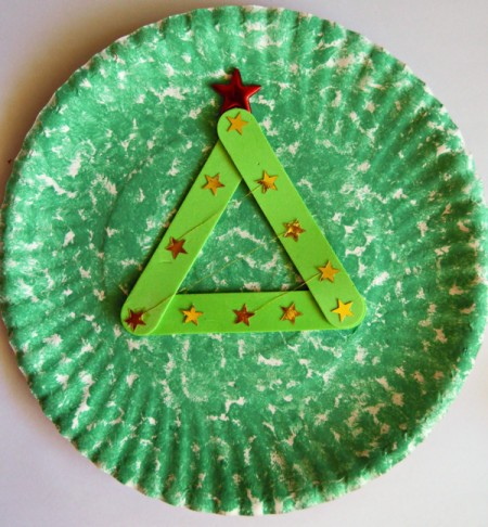 Let It Snow Paper Plate Craft - glue red star to top of the tree