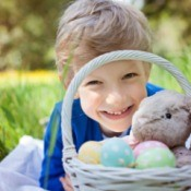 Young Boy With Easter Egg Basket