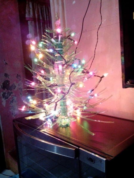 Plastic Bottle Christmas Tree - complete with a string of lights