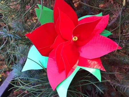 Making a Duct Tape Poinsettia - leave the stick long or cut short