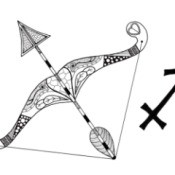 Sagittarius Adult Coloring Page - symbol and elaborate bow and arrow