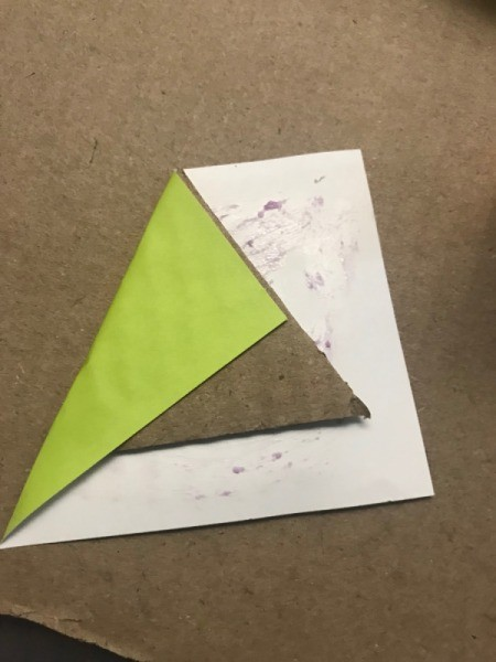 Christmas Triangle Candy Box Ornament  - wrap paper around the triangle and glue in place