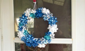 Happy Bow Wreath - finished wreath hanging on the door