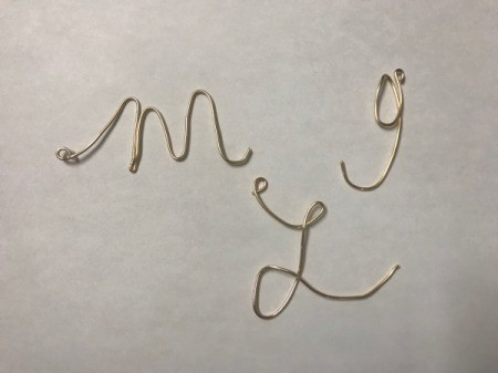 Wire Gift Tag Charm and Ornaments  - make sure each letter has a loop to add ribbon to hang as an ornament if desired