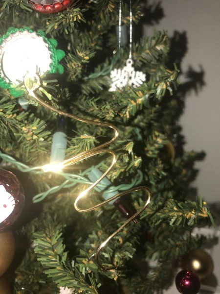 Wire Gift Tag Charm and Ornaments  - wire letter hanging on the tree