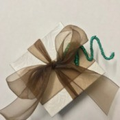 Wire Gift Tag Charm and Ornaments - wrapped gift with charm