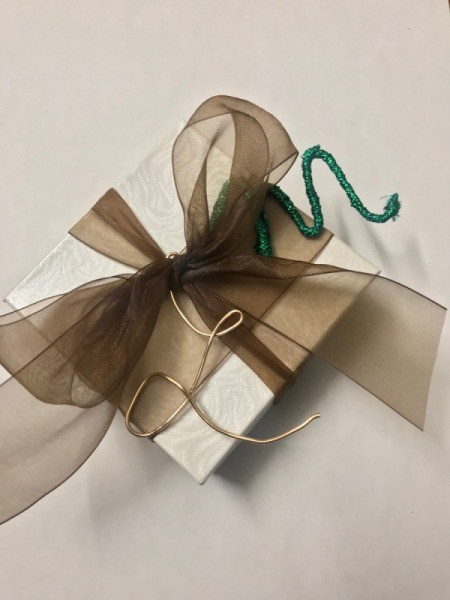 Wire Gift Tag Charm and Ornaments - gift with plain copper letter and ribbon wrapped version