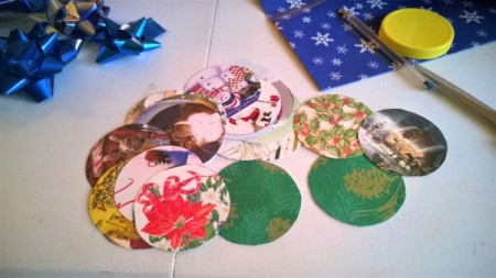 Christmas Card and Bow Window Decoration - circles cut from cards