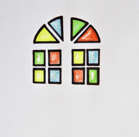 Stained Glass Church Window Christmas Card - use paint brush and white paint to add light reflections to windows