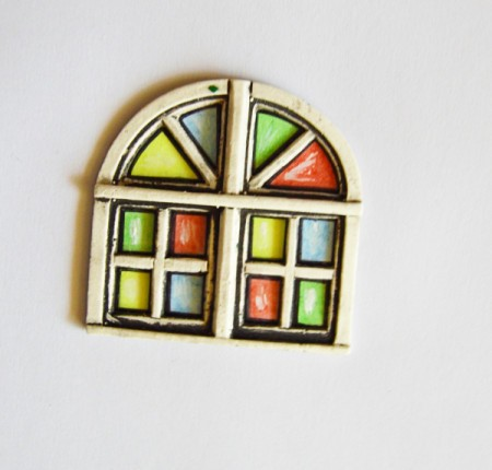 Stained Glass Church Window Christmas Card - glue the resin frame over the painted windows