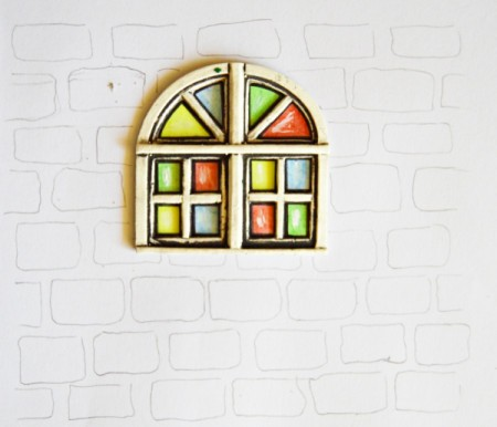 Stained Glass Church Window Christmas Card - use pencil to lightly draw on the brick wall