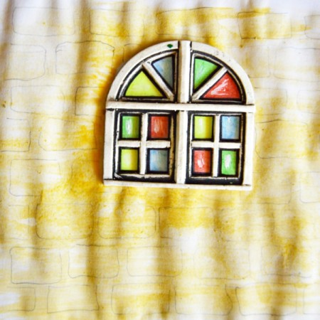 Stained Glass Church Window Christmas Card - paint entire wall with yellow watercolor paint